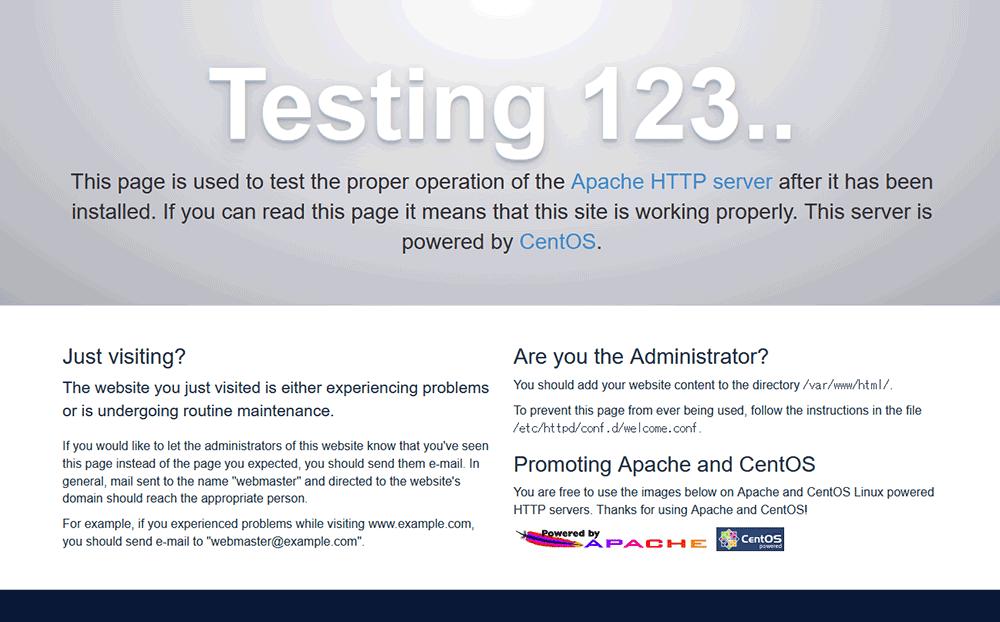 仮想環境の設定が正常に完了したら、ブラウザで設定されたIPアドレスでアクセスするとApacehの初期画面が表示されます。